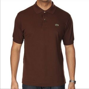 Lacoste Brown Pique Polo Gator Large, Size 5